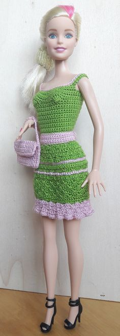 Doll Clothes - Barbie Dress (crocheted), olive green / pink - a unique product by Anna-Tim on DaWanda