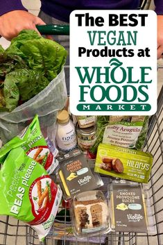 The BEST Whole Foods Vegan Products that You Need to Try! This list has the BEST Whole Foods vegan products that you have to try! Plus, info on which Whole Foods vegan prepared foods you should buy (or skip) and shopping tips! Whole Foods Vegan, Vegan Food List, Vegan Foods, Vegan Snacks, Whole Food Recipes, Vegan Recipes, Diet Foods, Vegetarian Food, Vegan Candy List