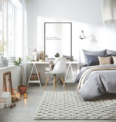 Gravity Home: Bedroom with workspace in a Scandinavian apartment - Interior Decor Interior Design Inspiration, Home Interior Design, Design Ideas, Design Trends, Luxury Interior, Bedroom Inspiration, Interior Designing, Diy Interior, Design Styles