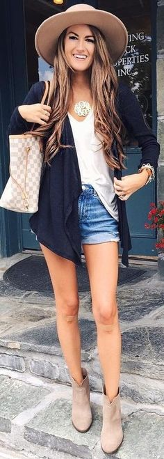 #summer #preppy #outfits | Black Jacket + White Tank + Denim Shorts