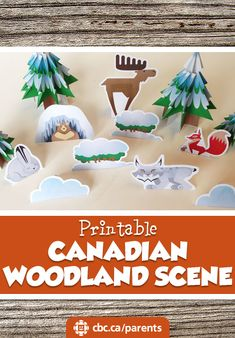 All you need is a printer and a pair of scissors to create this lovely scene! Enrichment Activities, Craft Activities, Toddler Activities, Canada Facts For Kids, Canada Day Fireworks, Canada Day Crafts, Canada Day Party, Canadian Animals, Canadian Forest