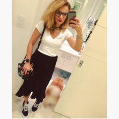 Dujour - BiancaCoimbra is wearing Vans Sneakers, URB Skirt, Zara Bag and H&M T-shirt