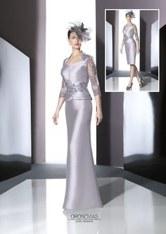 Silver mother of the bride/groom outfit by Spanish designer Raul Novias.