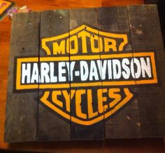 Harley Davidson hand painted wood sign by Feldannis on Etsy, $50.00