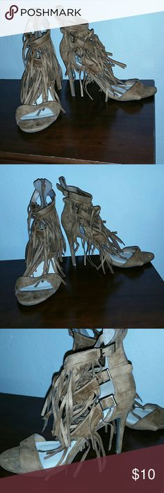 Fringe Sandal Fringe Sandal. Copper brown. 4.5 inch heel. Excellent condition. Worn 1 or 2 times. Perfect for the summer! Wild Diva Shoes Heels