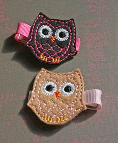 Super cute hand made owl hair clips - makes me wish I had little girls :)