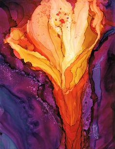 """Firebloom"" Alcohol ink by Diane Bay"