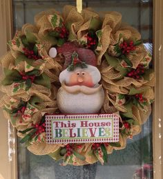 Christmas Santa Wreath by SignsBYDebbieHess on Etsy