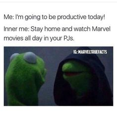 Me: I'm going to be productive today! Inner Me: Stay home and watch Marvel movies all day in your PJs. - Visit to grab an amazing super hero shirt now on sale! Dc Memes, Funny Memes, Hilarious, Which Hogwarts House, Inner Me, Geek Out, Marvel Movies, Fantastic Beasts, Marvel Avengers