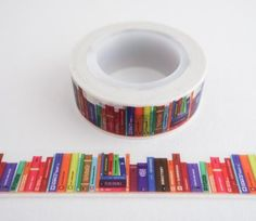 Library of Books Washi Tape / Bullet Journal Washi Tape / Scrapbooking / Bookworms / Journaling    https://www.maigocute.com/collections/washi-tape/products/library-of-books-washi-tape