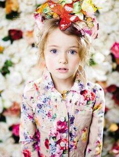 Fashion kids editorial flowers