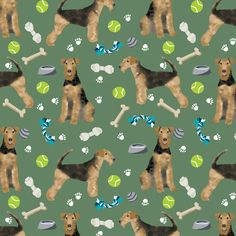 Airedale Terrier toys dog breed fabric med green by petfriendly