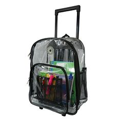 Rolling Clear Backpack Heavy Duty See Through Daypack School Bookbag with Wheels ** Click image for more details.