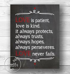 Love Never Fails Bible | Love Never Fails - Scripture Print - Wedding Bible Quote - Custom wall ...