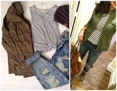 Pinterest told me to wear a striped tee, a military jacket, and distressed jeans!