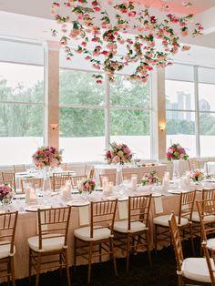 Blush and Ivory Hanging Flower Arrangement Ballroom Reception
