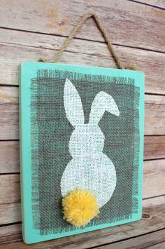 Stenciled Burlap Bunny Plaque Wall Art