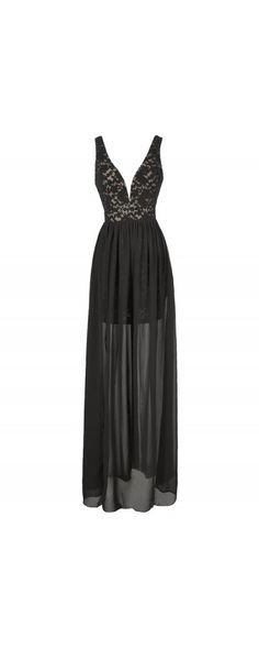Maximum Impact Lace and Chiffon Designer Dress in Black