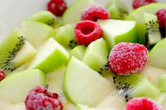 One of my favorite salads and so refreshing - Honey Crisp Apple Slices Kiwi Slices and a handful of frozen Raspberries mixed in with Vanilla Yogurt.  Even non-yogurt lovers will like this!