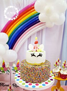 Take a look at the colorful birthday cake at this Unicorn Birthday Party!! See more party ideas and share yours at CatchMyParty.com #unicorn #cake