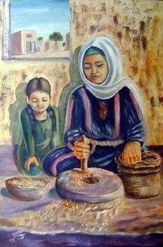 Grinding grains.