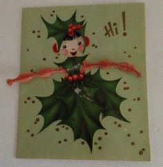 Vintage Christmas Card Holly Girl Pixie Chenille Pipe Cleaner 50s Greeting Fairy $24.99 w/free US ship #vintagepixie #vintagefairy #vintagechristmas #vintagechenillepipecleaner