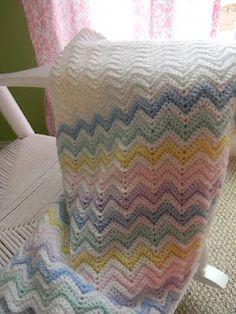 Chevron Patterned, crochet Baby blanket