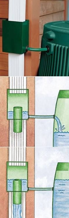 The Most Convenient Way to Fill Your Rain Barrel; Our downspout goes straight into an underground pipe, so regular rain barrel would present problems. Outdoor Projects, Garden Projects, Outdoor Ideas, Outdoor Decor, Dream Garden, Home And Garden, Water Collection, Water Storage, Sustainable Living