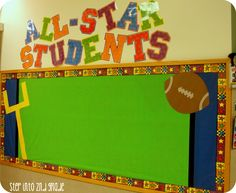All Star Students: Sports Theme Classroom Bulletin Boards! Sports Bulletin Boards, Sports Theme Classroom, Classroom Bulletin Boards, Classroom Decor, Classroom Organization, Classroom Management, Toddler Classroom, Preschool Classroom, Future Classroom