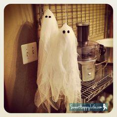 Cute DIY Halloween Ghosts   Homemade Halloween Decorations. Cheese cloth and styrofoam ball underneath.