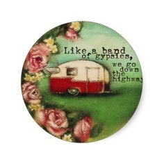 Vintage Camper & Roses Round Stickers