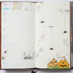 This week's theme: Spiders, ghosts and pumpkins in my midori 😨😨😨 #happyhalloween #halloween #ghost #pumpkin #spider #snoopy #woodstock #thegreatpumpkin #witch #midoritravelersnotebook #weekly #inserts #inktober #october #watercolor #cute #drawing #art #journal #cemetery #photography #kuretake #zig #brushpen #calligraphy #star