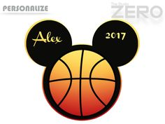 Basketball Mickey Head, Personalize - 300 DPI Printable/Iron On Transfer or Use as Clip Art by TheStudioZero on Etsy