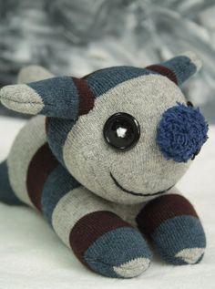 Handmade  stuffed animal    toys  soft dolls  sock by Toyapartment, $12.50