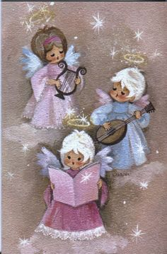 Vintage Hallmark Christmas Card: Angels in Pink with Instruments