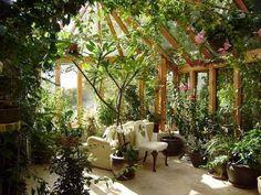 indoor garden solarium #greenhouse #conservatorygreenhouse