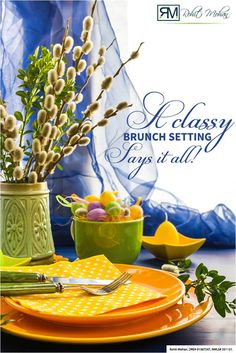 Set up a visually appealing brunch table with a combination of pretty looking plates and table accessories to welcome the guests and charm them over. #RohitMohan #Home #Mortgage #Classy #brunch