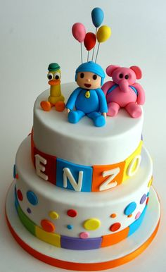 Pocoyo Cake 1st Birthday Cake Designs, 3rd Birthday Parties, 4th Birthday, Birthday Ideas, How To Make Cake, First Birthdays, Jr, Centerpieces, Cupcakes