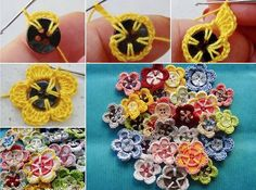 Crochet button flowers :)