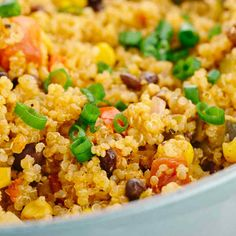 One pot Mexican spiced vegetable quinoa is loaded with bold flavors and healthy ingredients Protein fiber and vegetables in each delicious spoonful video quinoa mexicancuisine Vegetable Quinoa, Healthy Vegetable Recipes, Healthy Vegetables, Healthy Snacks, Vegetarian Recipes, Healthy Eating, Dinner Healthy, Pork Recipes, Mexican Food Recipes
