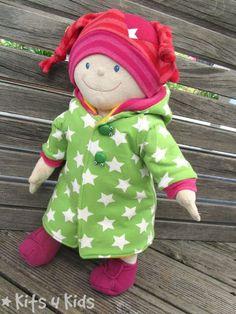 Puppenkleidung, Jersey, Reste, nähen, Schnittmuster und Anleitung