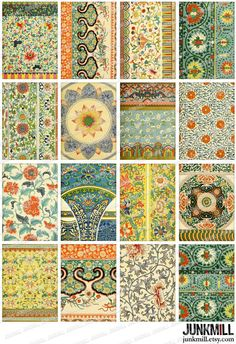 ASIAN PRINTS  Digital Printable Collage Sheet  Chinese by JUNKMILL, $3.95