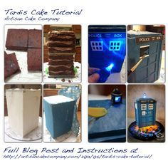 Tardis cake from the show Doctor Who, tutorial with step by step instructions! Idk if this goes on my food board or doctor who board... So I'll just pin it twice haha:P