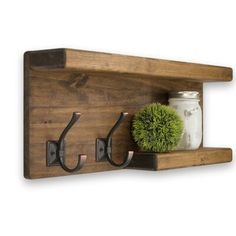 Gracie Oaks Wyton Two Tier Wall Shelf Finish: Medium Brown Wooden Bathroom Shelves, Industrial Wall Shelves, Wooden Floating Shelves, Rustic Bathroom Decor, Wood Wall Shelf, Wood Shelves, Shelving, Diy Wooden Projects, Diy Furniture Projects