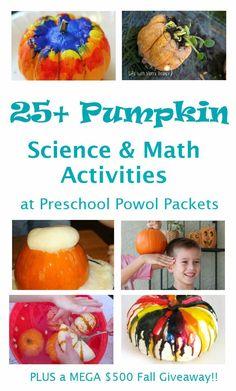 25+ Pumpkin Science & Math Activities. Great for preschool, kindergarten and elementary school. Great hands-on learning.