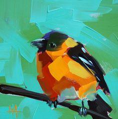 Black Headed Grosbeak original bird oil painting by Angela Moulton prattcreekart