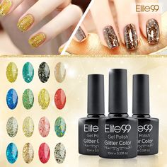 Elite99 Profeesional UV Gel Nail Manicure 10ml Glitter UV Nail Polish Diamond Glitter Gel Nail Good Quality Soak Off Gel Polish