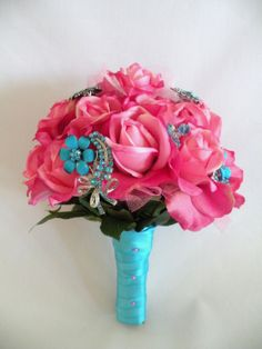 real flower boquet with broaches | BROOCH BOUQUET, Real Touch Hot PInk Turquoise Jeweled Bouquet,READY to ...