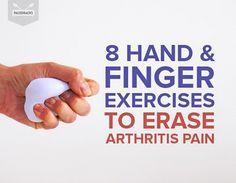 8 Hand & Finger Exercises To Erase Arthritis Pain Hand Exercises For Arthritis, Arthritis In Fingers, Exercise For Rheumatoid Arthritis, Natural Remedies For Arthritis, Finger Arthritis, Finger Exercises, Pain Relief, Arthritis Relief, Fat Workout