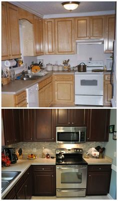 "Before and after photos of my kitchen. I used the Rust-oleum Cabinet Transformations product - color is ""Cabernet"". I am thrilled with the results."